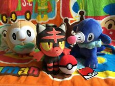New pokemon center oroginal - Rowlet Litten Popplio Plush doll set of 3 Sun moon
