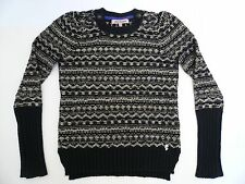 JUICY COUTURE LUREX / WOOL CHENILLE KNIT FAIR ISLE JUMPER BLACK & GOLD Size XS