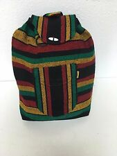 VINTAGE LOOK BACKPACK,HIPPIE GEAR,MEXICAN MADE,SURF GEAR,BEACH BAG, Rasta Mix 1