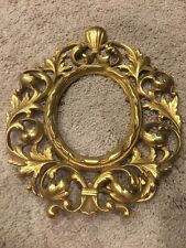 Antique Victorian Oval Mirror Picture Frame Stand Ornate Brass Art Nouveau Shell