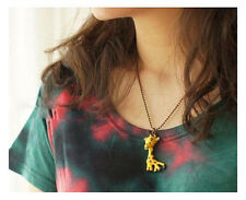 Yellow Enamel Glazed Crystal Giraffe Pendant  Antique Mini Beads Chain Necklace