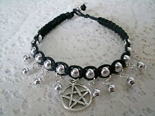 Black Cord Pentagram Bracelet, wiccan pagan wicca witch witchcraft pentacle goth