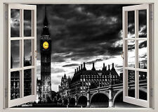 Big Ben London Eye City Skyline 3d Effect Window Wall View Sticker Poster 345