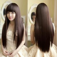 Womens Long Brazilian  Straight Natural Remy Fancy Dress Wig Hair Old Full Wigs
