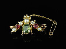 VICTORIAN BROOCH -  GREEN GARNET RUBY & OLD CUT DIAMOND 18CT GOLD BUG BROOCH