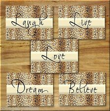 Leopard Cheetah Wall Art Prints Motivational Quote Love Laugh Live Dream Believe