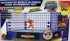 """WWE Classic Blue Steel Cage Playset"" w/ WrestleMania 2 & SummerSlam Ring Skirts"