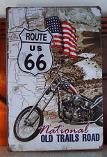 Route 66 Motorcycle Tin Sign Plaque Retro Metal Pub Garage Wall Decor Poster