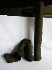 Stella McCartney NEW Brown Faux Suede Knee High Pull-On Boots Heels 36.5