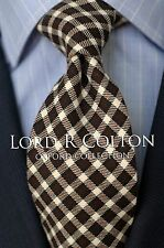 Lord R Colton Oxford Tie - Chocolate Check Cashmere Necktie - $125 Retail New