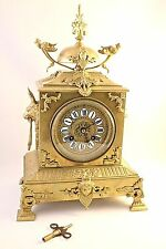 19th Century French Doré Bronze Mantle Clock by G. Philippe, Palais Royale 66-67