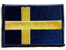 SWEDEN SVERIGE SWEDISH FLAG EMBROIDERED IRON ON PATCH Scandinavia patriotic