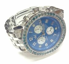 AQUA TECHNO CHRONOGRAPH  7CT BLUE DIAMOND WATCH MEN'S PEARL STAINLESS MASTER