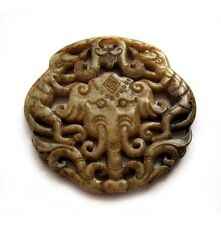 Old Jade Gem Happy Lucky Elephant Chinese Zodiac Monkey Sculpture Double Faces