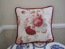 Waverly Red Norfolk Rose Vintage French Country Toile Pillow Shabby Chic
