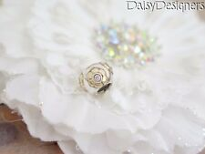 Authentic PANDORA Sterling Silver 14k RAISED FLOWER Clear Charm 790270CZ RETIRED