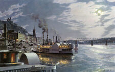 John Stobart Print - Cincinnati: The Public Landing by Moonlight c. 1875