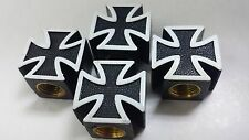 Iron Cross Car Bike Motorcycle BMX Wheel Tyre Valve Plastic Dust Caps Set of 4
