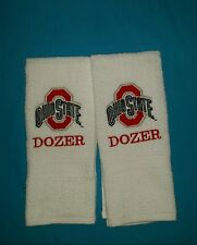 PERSONALIZE - OHIO STATE BUCKEYES EMBROIDERED BATH  WHITE HAND TOWEL SET 2