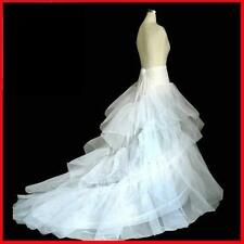 Stock New White Train Crinoline Petticoat Wedding Bridal Dress Underskirt slip