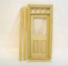Zimmertür Tür aus Naturholz mit Türzarge und Leisten Plexiglas Puppenhaus 1:12 2