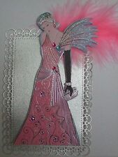 1 x H / reso CARD TOPPER di Roaring 20V LADY / Extra Large / Argento / Rosa / elegante NO2