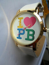 I LOVE PAULS BOUTIQUE LOVE HEART QUARTZ WATCH WRISTWATCH P B PA013WHO WHITE STRA