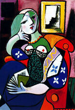 PABLO PICASSO * QUALITY CANVAS ART PRINT * Women with Book