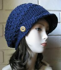 Navy Blue Slouch Newsboy Hat Crochet Slouchy Visor Beret Tweed Cap