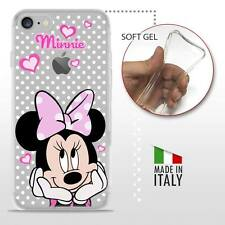 iPhone 7 TPU CASE COVER PROTETTIVA GEL TRASPARENTE Disney Minnie Mouse Pois