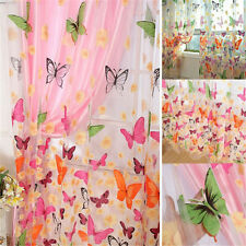 New Floral Butterfly Curtains Sheers Voile Tulle Window Curtain 100x200cm