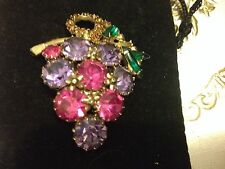 Weiss Signed Vintage Purple & Pink Grape Design Rhinestone Brooch Pin