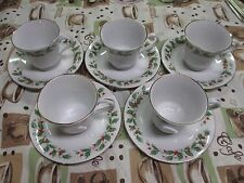 5 China Pearl Noel Holly Berry Pattern Tea Cup and Saucer Set Gold Leaf Trim