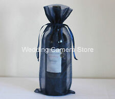 12 Quality navy blue Organza Bags -Bottle/Wine bags gift, 6x14""