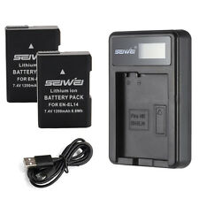 Lot2 EN-EL14 Li-ion Battery for Nikon D3200 D3100 D5200 D5100 + USB Charger set
