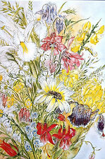Sulamith Wulfing 1985 SUMMER FLOWERS Bouquet Pink Yellow Matted Calendar Print