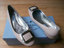 $590 Prada Shoes Rectangle Buckle Patent Leather 39.5 US 9.5 NEW