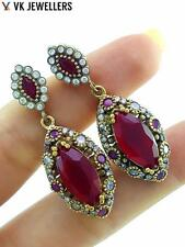 TURKISH OTTOMAN HANDMADE JEWELRY 925 STERLING SILVER RUBY EARRINGS E2937
