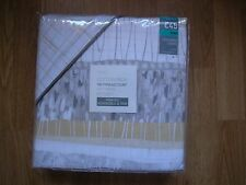 NEXT TEXTURED STRIPE YELLOW GREY REVRSIBLE TRIM  KING Bed Set Duvet Cover & 2 PC