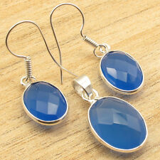 BLUE CHALCEDONY Gemset Earrings & Pendant ! Silver Plated Overall Fit Jewelry