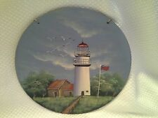 HAND PAINTED Beautiful LIGHTHOUSE American Flag Glass Hanger Quality Wall Decor
