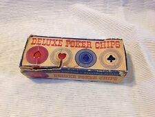 VINTAGE NEW IN ORIGINAL BOX 100 DELUXE BLUE AND RED PLASTIC POKER CHIPS