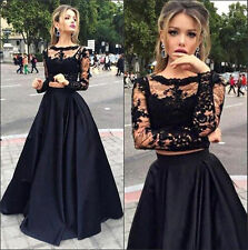 New Black Two Pieces Evening Dresses Sheer Long Sleeves A line Prom Party gown