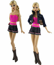 5in1 Set Denim Wear Clothes&Outfit Coat+shorts+vest+notepad+boots For Barbie