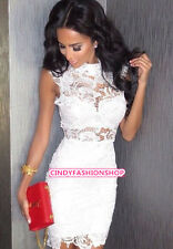 New Women Sexy High Collar Lace Bodycon Dress Party Evening Bandage Dress