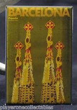 "Barcelona Spain Travel Poster 2"" X 3"" Fridge / Locker Magnet. Sagrada Familia"