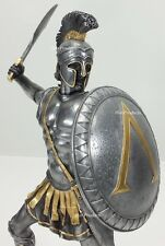 "13"" SPARTAN GREEK WARRIOR Statue HOPLITE SHIELD SWORD Pewter & Gold Color"