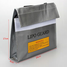 Silver LiPo Battery Fireproof Safety Guard Protection Bag Charger Sack 24*6*17cm