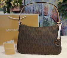 NWT  Michael Kors $198 Small MK Sig.Top Zip Shoulder Handbag Brown PVC/Leather