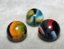 "M4527 VINTAGE PELTIER RAINBO  3 LOT MARBLES  5/8""  +/-  NEAR  MINT"